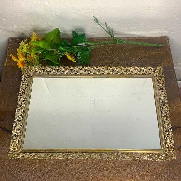 VTG Gold Filigree Mirror Footed Vanity Tray
